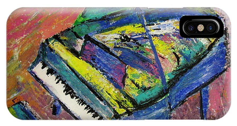 Piano IPhone X Case featuring the painting Piano Blue by Anita Burgermeister