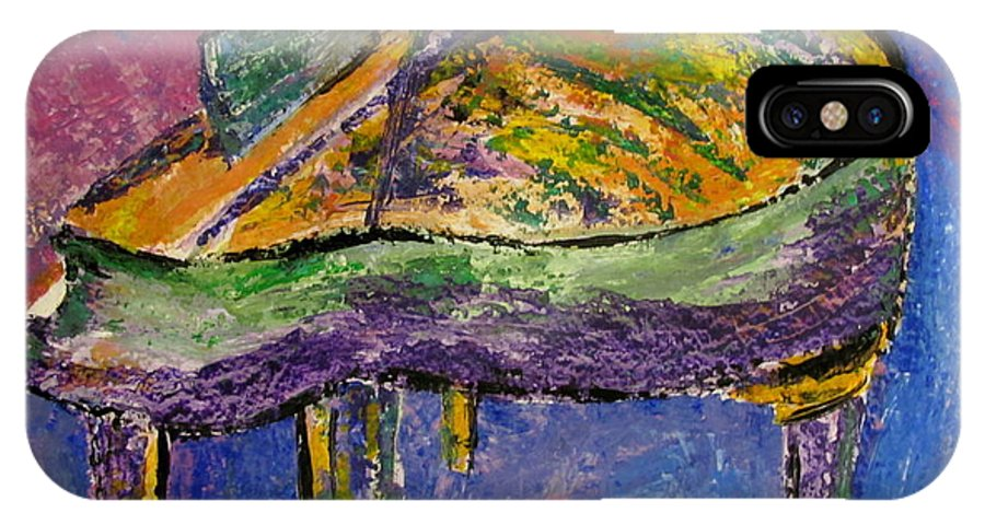 Impressionist IPhone X Case featuring the painting Piano Purple by Anita Burgermeister