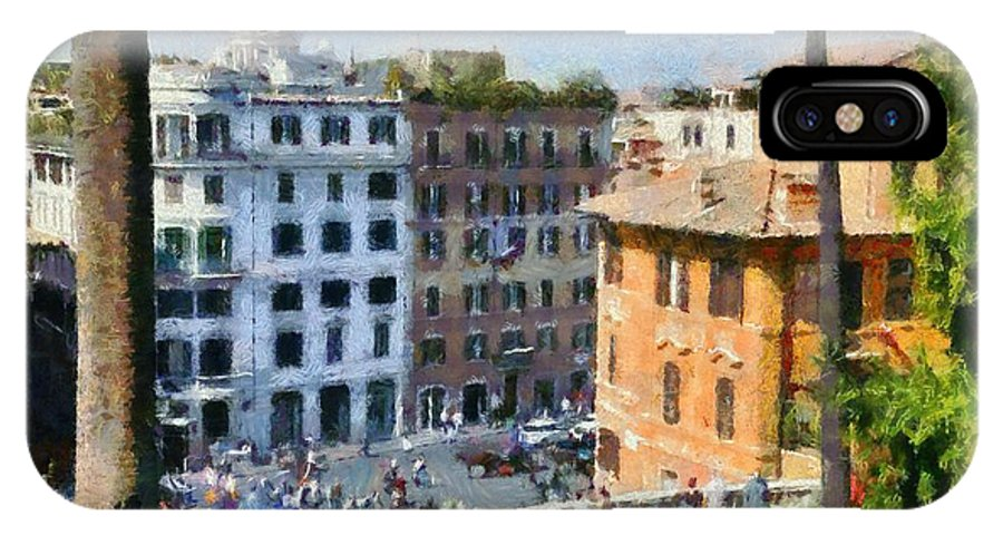 Piazza Di Spagna IPhone X Case featuring the painting Piazza Di Spagna In Rome by George Atsametakis
