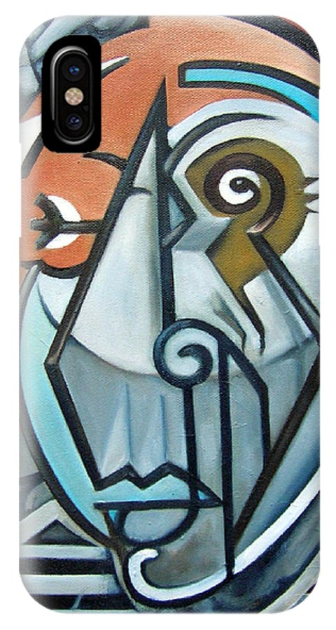 Picasso Cubism Portrait Red IPhone X / XS Case featuring the painting Picasso Bust by Martel Chapman