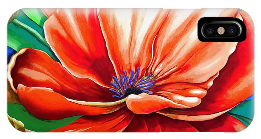 Original Painting IPhone X Case featuring the painting Pick Me Poppy by Carol Sabo