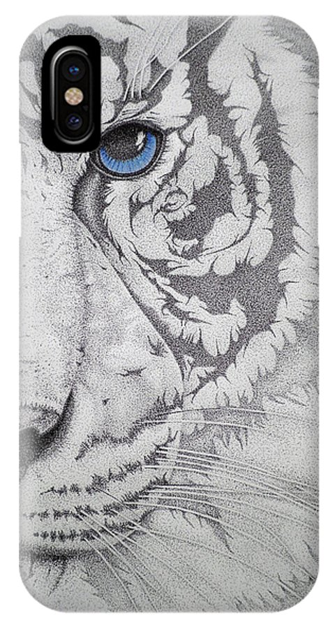 Tigers Paintings IPhone X Case featuring the drawing Piercing II by Mayhem Mediums