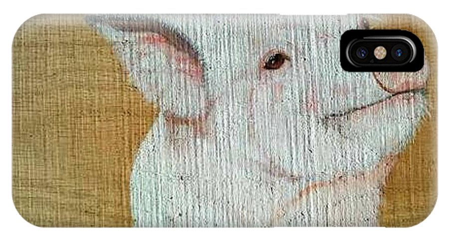 Pig IPhone X Case featuring the painting Pig Smile by Debbie LaFrance