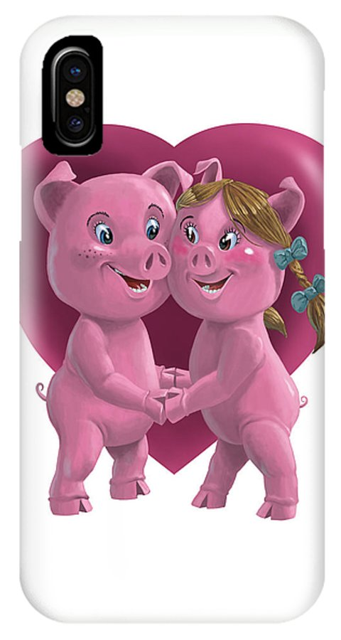 Love IPhone X Case featuring the painting Pigs In Love by Martin Davey
