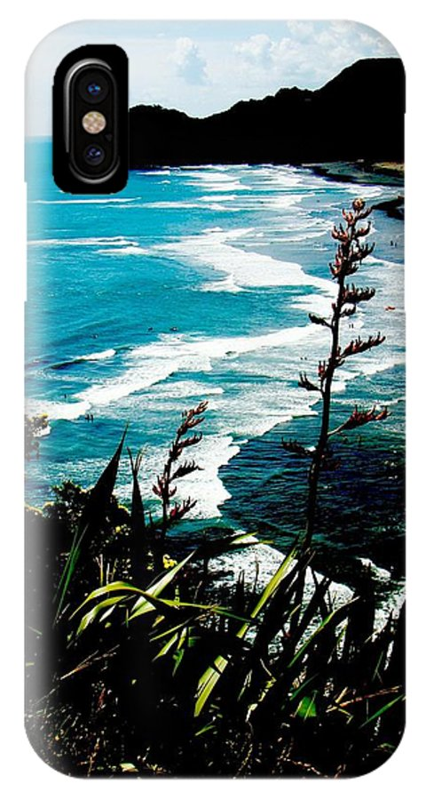 Waitakere IPhone X Case featuring the photograph Piha Beach by David and Mandy