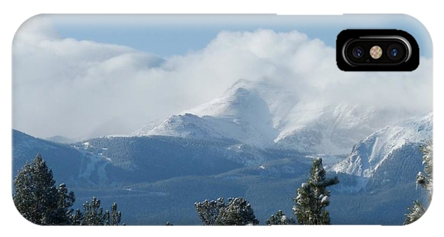 Colorado IPhone X Case featuring the photograph Pikes Peak Under The Clouds by Marilyn Burton