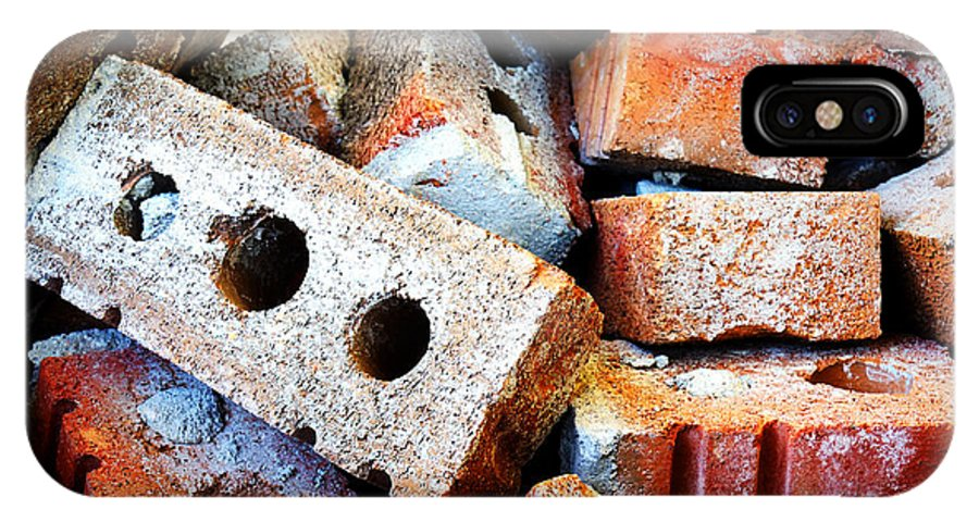 Bricks IPhone X Case featuring the photograph Pile Of Bricks by Sylvie Bouchard