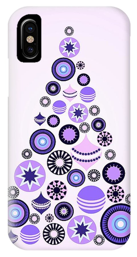 Interior IPhone X Case featuring the digital art Pine Tree Ornaments - Purple by Anastasiya Malakhova