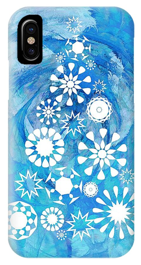 Interior IPhone X Case featuring the digital art Pine Tree Snowflakes - Baby Blue by Anastasiya Malakhova