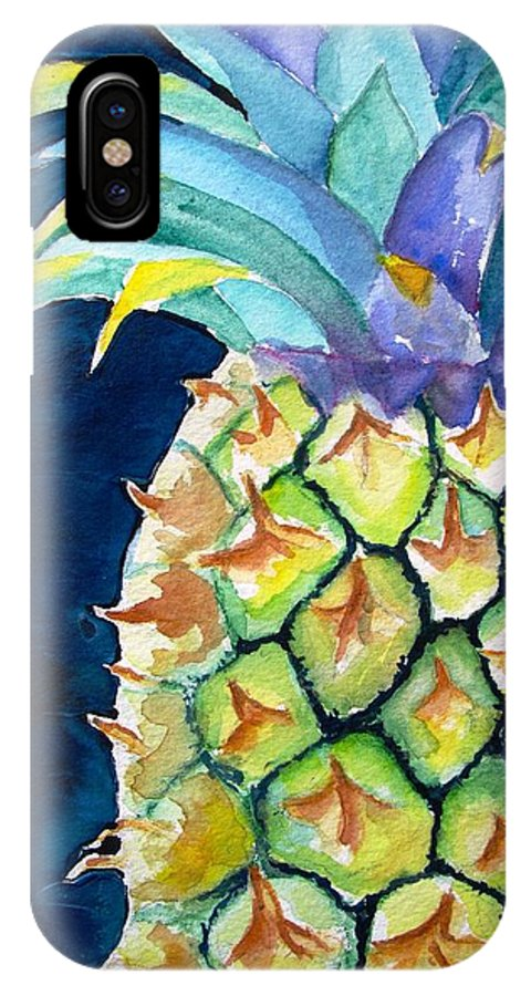 Pineapple IPhone X Case featuring the painting Pineapple by Carlin Blahnik CarlinArtWatercolor