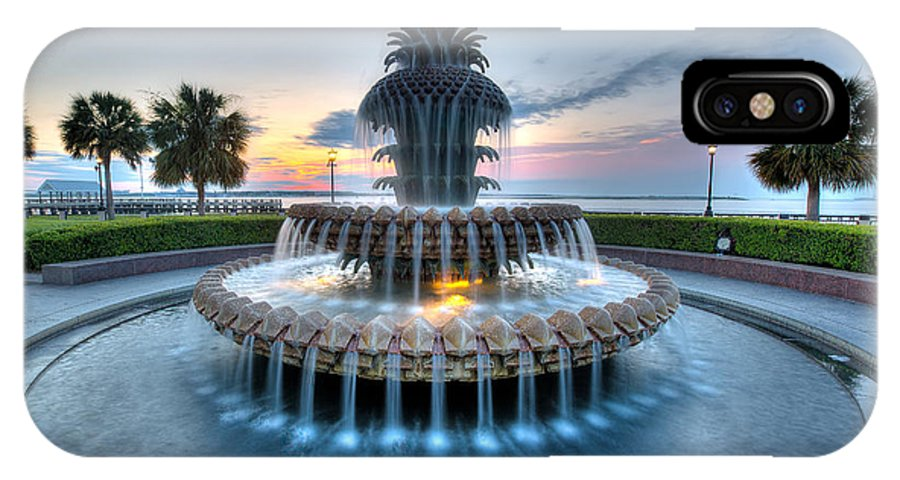 Waterfront Park IPhone X Case featuring the photograph Pineapple Fountain At Waterfront Park by Walt Baker
