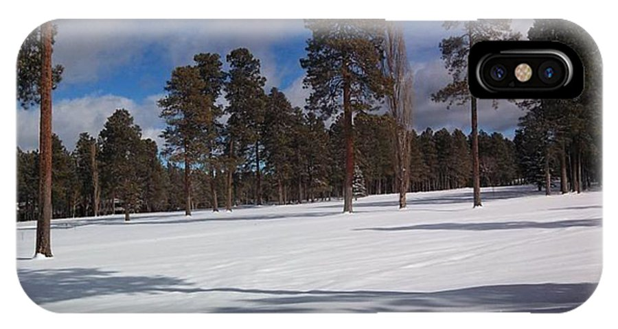 Pinetop IPhone X Case featuring the photograph Pinetop Snowfall by Stan Scott
