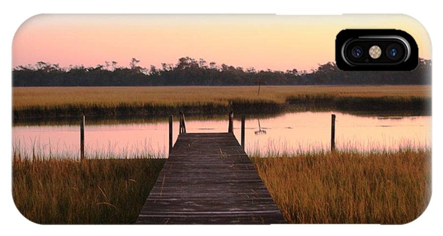 Pink IPhone X Case featuring the photograph Pink And Orange Morning On The Marsh by Nadine Rippelmeyer