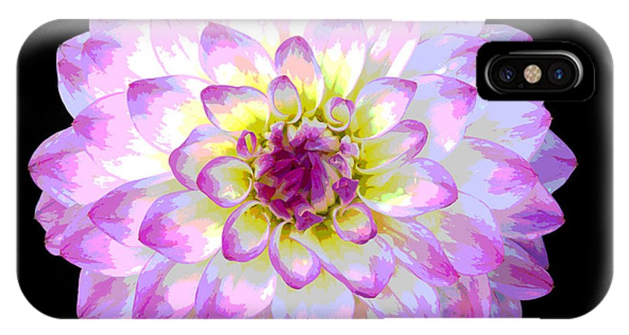 Flower IPhone X Case featuring the photograph Pink And White Dahlia Posterized On Black by Rosemary Calvert