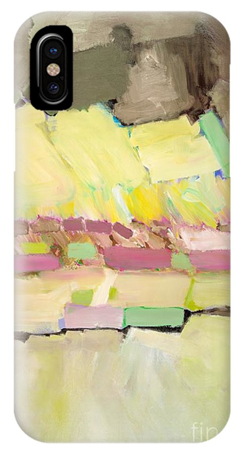 Landscape IPhone X Case featuring the painting Pink And Yellow by Allan P Friedlander