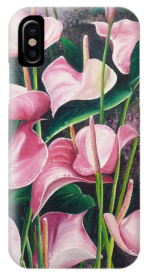 Floral Flowers Lilies Pink IPhone Case featuring the painting Pink Anthuriums by Karin Dawn Kelshall- Best