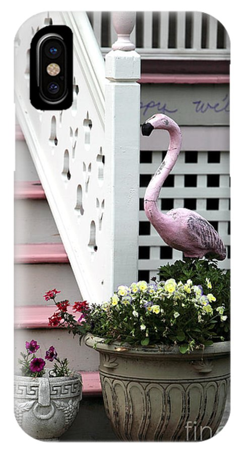 Pink At That The Shore House IPhone X Case featuring the photograph Pink At The Shore House by John Rizzuto