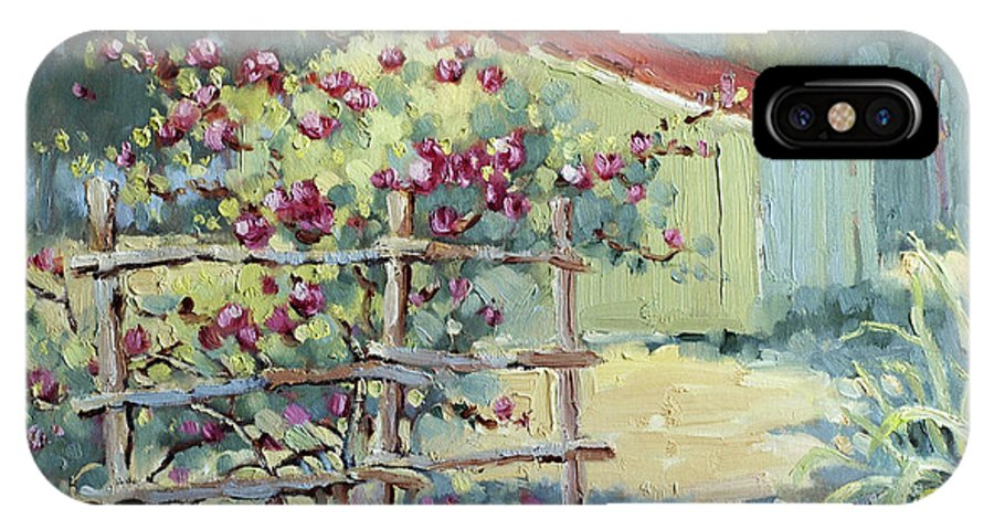 Impressionist IPhone X Case featuring the painting Pink Climbers In Texas by Joyce Hicks