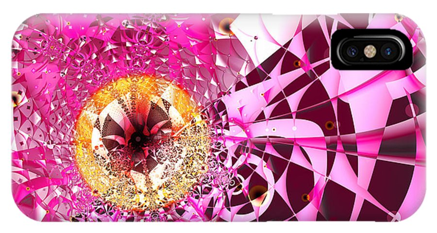 Pink IPhone X Case featuring the digital art Pink Crazy by Frederic Durville