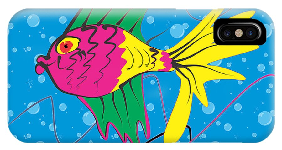 Pink IPhone X Case featuring the digital art Pink Fish by Enrico Pischiera