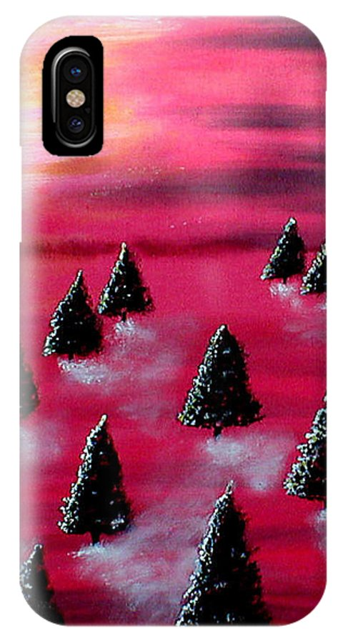 Forest IPhone X Case featuring the painting Pink Forest by Sandy Wager