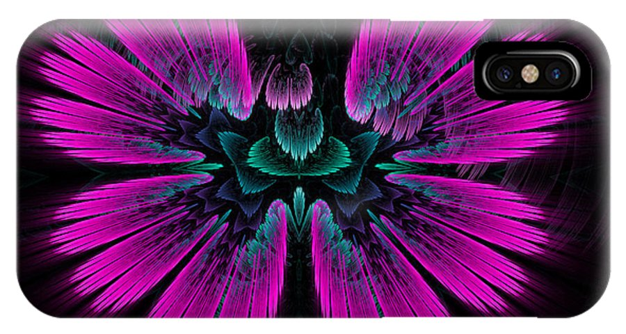 Pink IPhone X Case featuring the digital art Pink Fractal Flower Explosion by Matthias Hauser