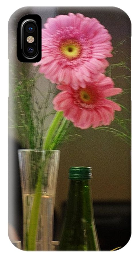 Flowers In A Vase IPhone X Case featuring the photograph Pink Gerbera by Ernestine Manowarda