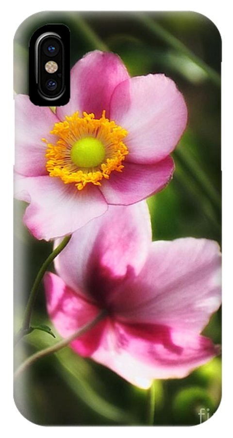 Pink IPhone X Case featuring the photograph Pink Japanese Anemone by Sharon Woerner