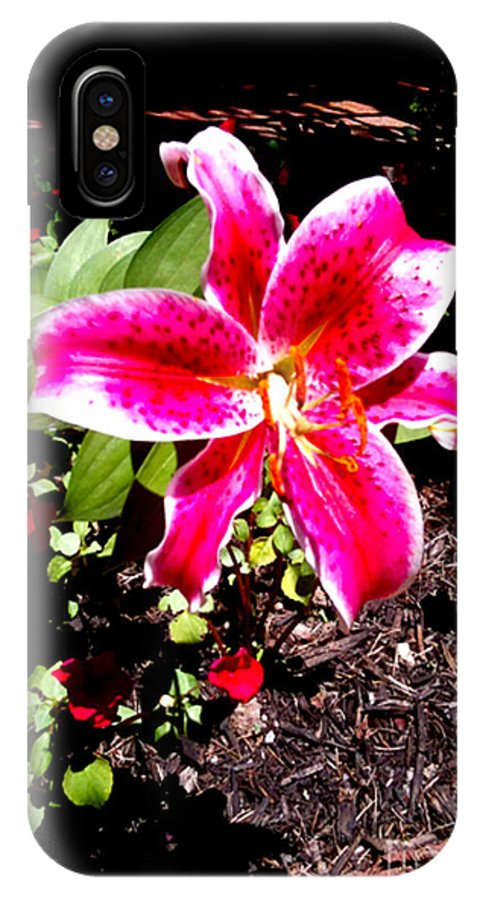 Pink Lily Flower IPhone X Case featuring the photograph Pink Lily by Simonne Mina