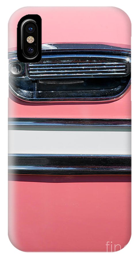 Old IPhone X Case featuring the photograph Pink Paint On Old Vintage Car by Sylvie Bouchard