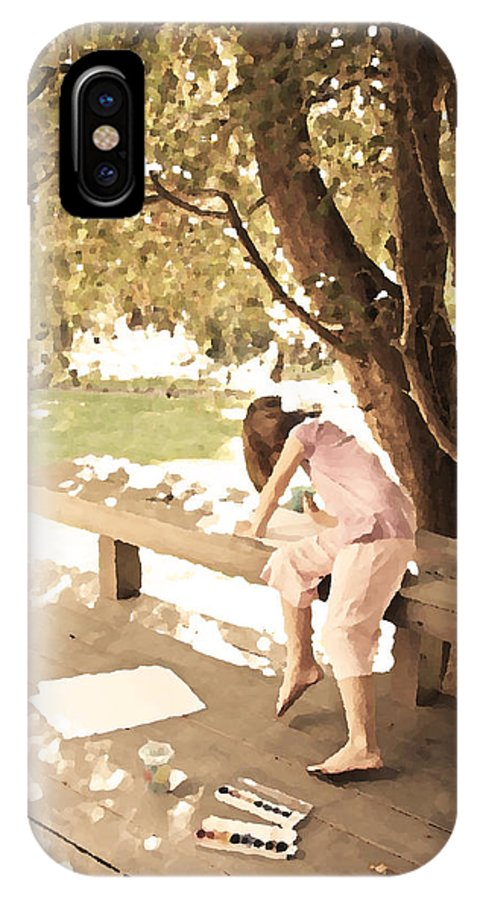 Girl Painting IPhone X Case featuring the photograph Pink Painter by Brooke T Ryan