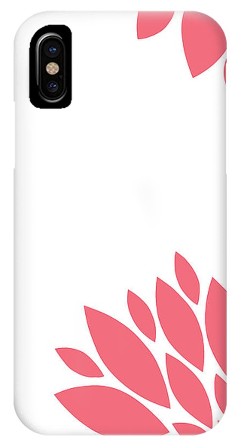 Pink IPhone X / XS Case featuring the digital art Pink Peony Flowers by Voros Edit