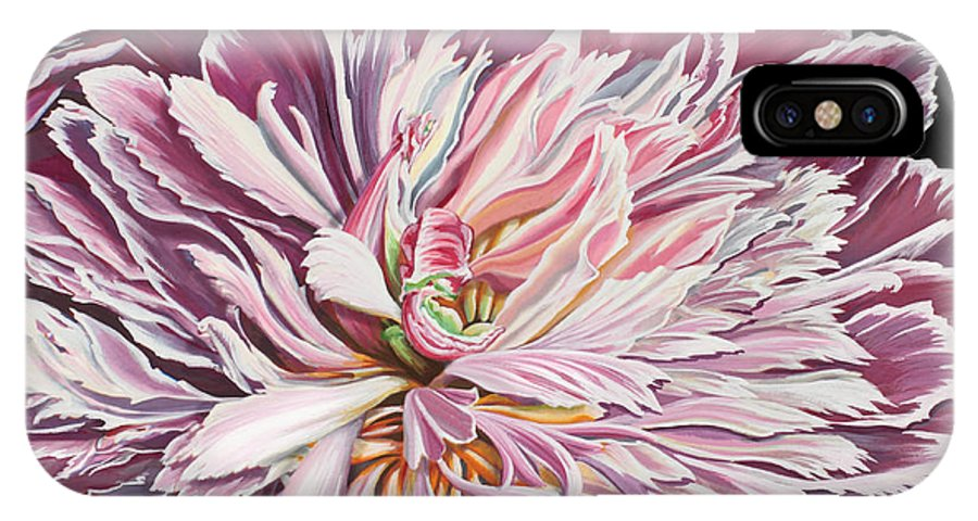 Flower IPhone X Case featuring the painting Pink Peony by Jane Girardot