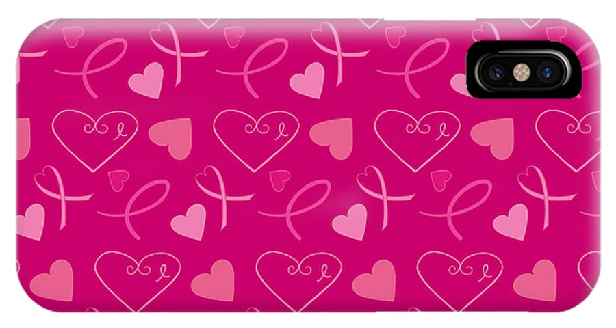 Breast Cancer IPhone X Case featuring the digital art Pink Ribbons by Debra Miller