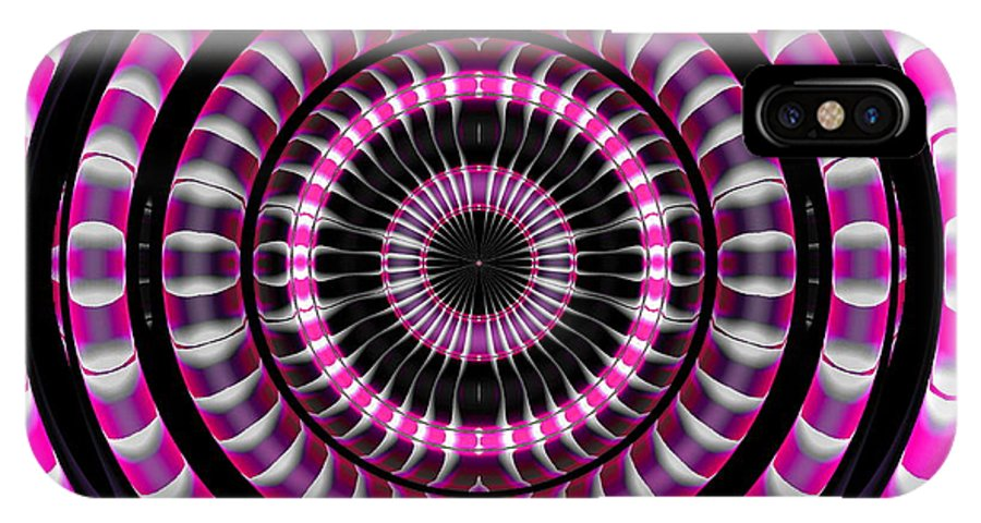 Ring IPhone X Case featuring the digital art Pink Rings by Visual Artist Frank Bonilla