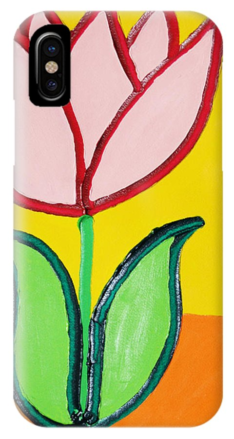 Tulip IPhone X Case featuring the painting Pink Tulip by Matthew Brzostoski