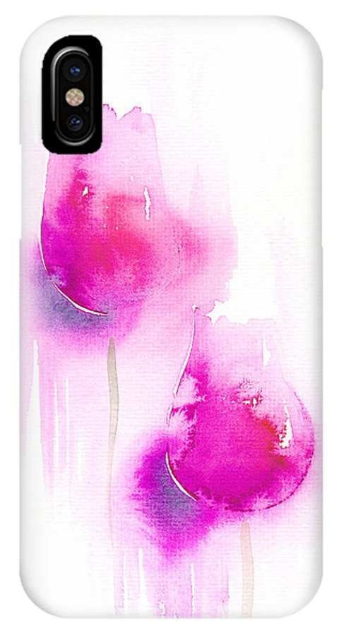 Tulips IPhone Case featuring the painting Pink Tulips by Christina Rahm Galanis