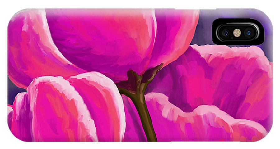 Tulips IPhone X Case featuring the painting Pink Tulips On Purple by Tim Gilliland