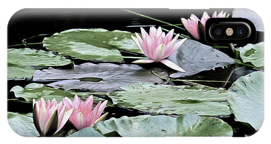 Pink IPhone X Case featuring the photograph Pink Water Lilies Painting by Clyn Robinson