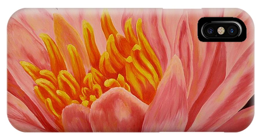 Oil IPhone X Case featuring the painting Pink Waterlily by Darla Brock