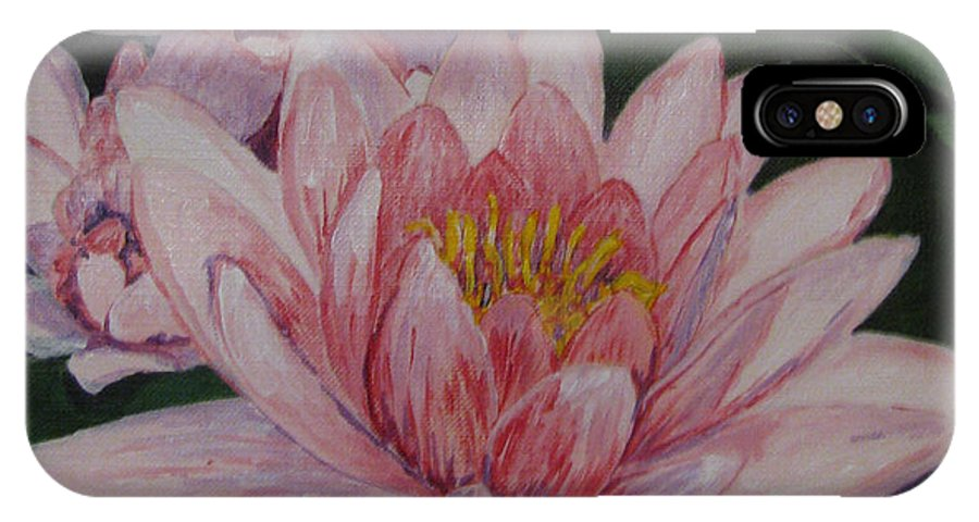 Flower IPhone X Case featuring the painting Pink Waterlily by Nancie Johnson