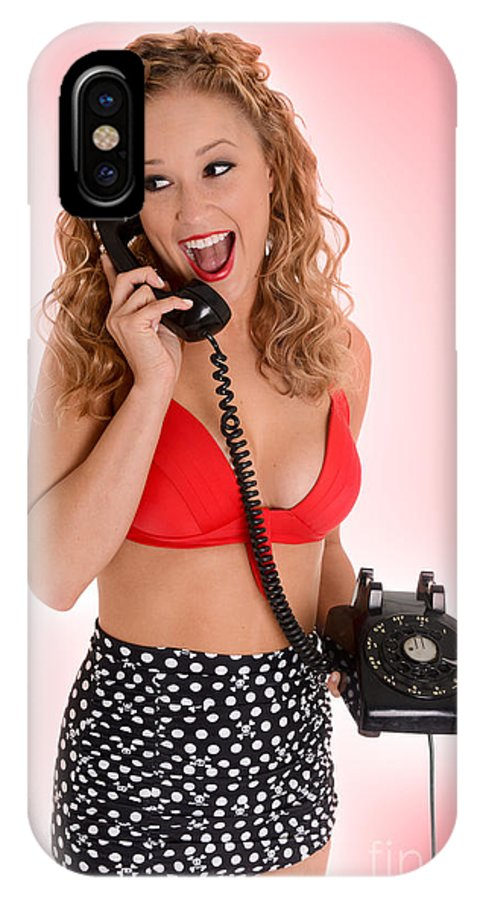 Model IPhone X Case featuring the photograph Pinup Girl On The Phone by Jt PhotoDesign