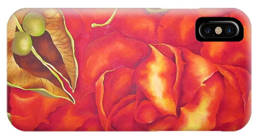 Rose IPhone X Case featuring the painting PIP by Elizabeth Elequin