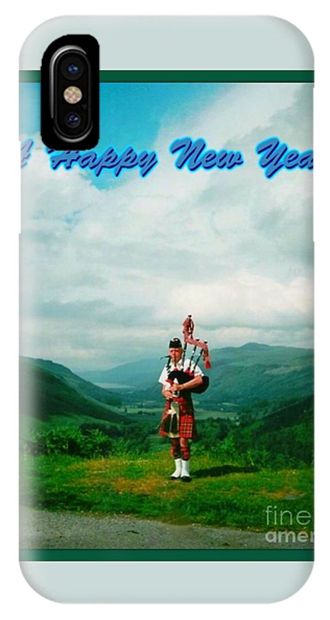 The Great Glen IPhone X Case featuring the photograph Piper Greeting The New Year by Joan-Violet Stretch