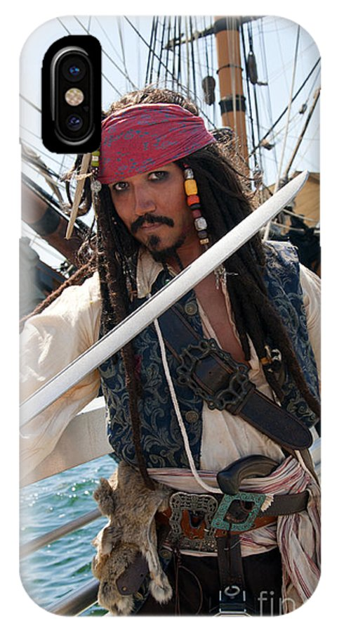 Pirate IPhone X Case featuring the photograph Pirate With Sword by Brenda Kean