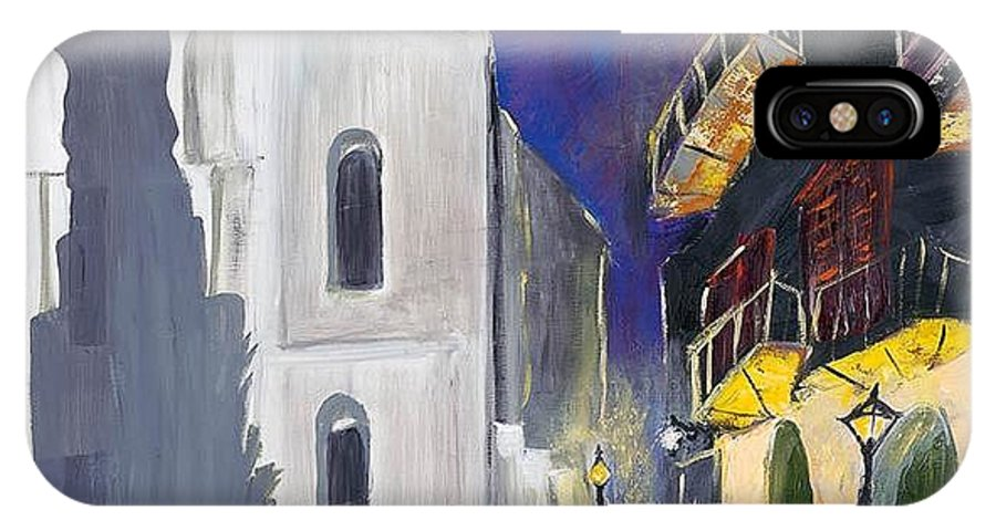 Pirates Alley New Orleans IPhone X Case featuring the painting Pirate's Alley French Quarter Painting by Kerin Beard