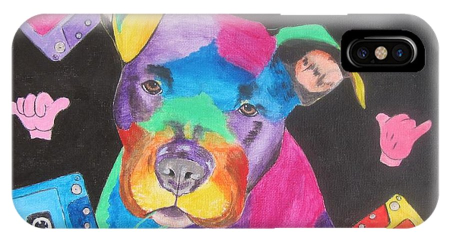 Pitbull IPhone X Case featuring the painting Pitbull by Jeepee Aero