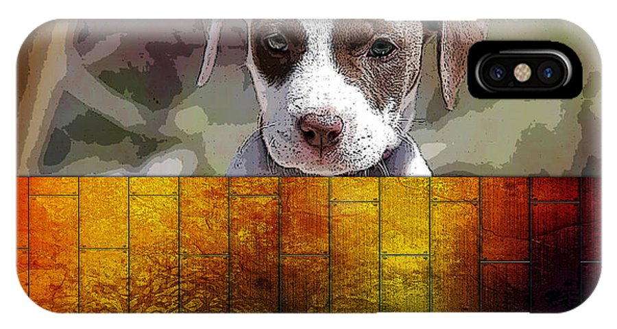 Pitbull Puppy IPhone X Case featuring the mixed media Pitbull Puppy by Marvin Blaine