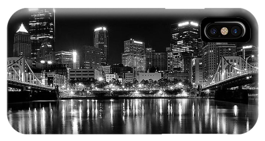 Pittsburgh IPhone X Case featuring the photograph Pittsburgh Black And White Panorama by Frozen in Time Fine Art Photography