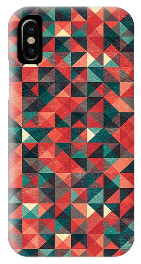 Pattern IPhone X Case featuring the digital art Pixel Art Poster by Mike Taylor